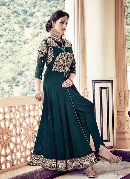 Dark Green Faux Georgette/Dull Santoon Embroidered Suit