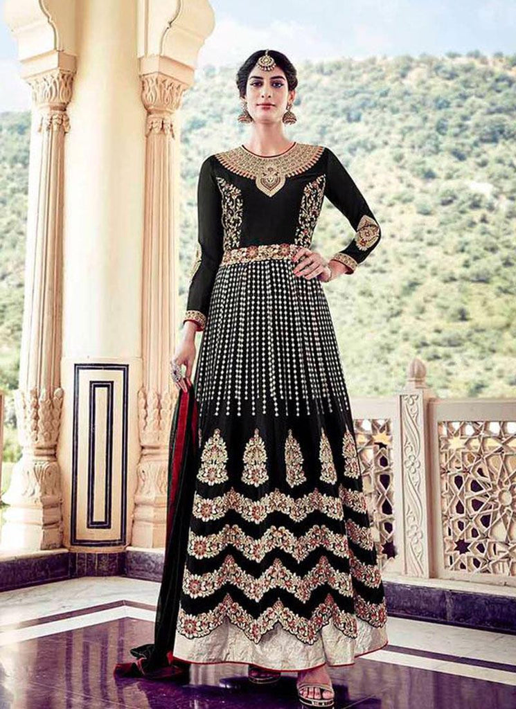 Black & White Faux Georgette/Dull Santoon Embroidered Suit