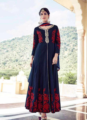 Navy & Red Tapeta Silk/Santoon Embroidered Suit
