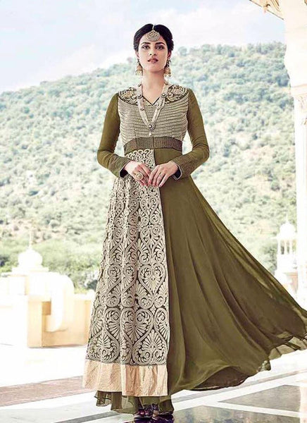 Olive Green Faux Georgette/Dull Santoon Embroidered Suit