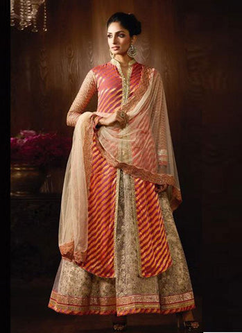 Rust & Cream Net Embroidered Anarkali