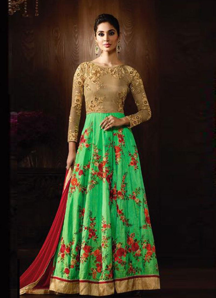 Floral Green & Beige Raw Silk Embroidered Anarkali