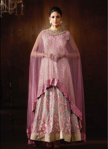 Grey & Pink Georgette/Net Embroidered Anarkali