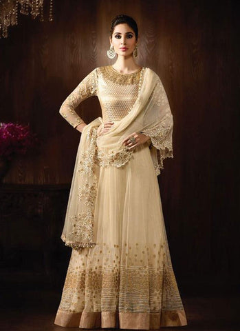 Cream Net/Brocade Embroidered Anarkali