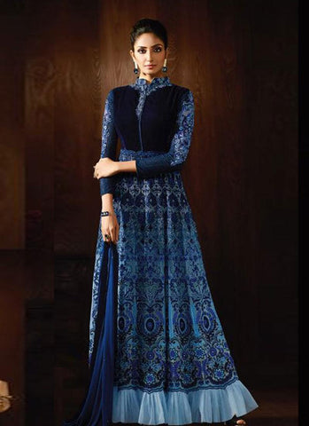Shaded Blue Georgette/Velvet Embroidered Anarkali