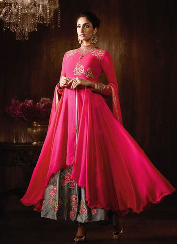 Hot Pink & Grey Georgette/Satin Embroidered Anarkali