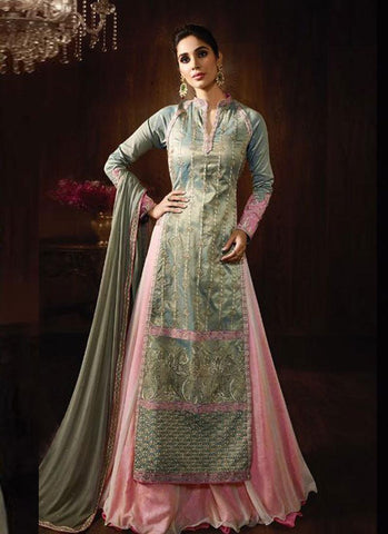 Baby Pink & Grey Two-Tone Raw Silk Embroidered Lehenga Suit