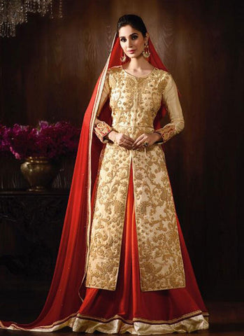 Cream & Red Raw Silk/Georgette Embroidered Lehenga Suit