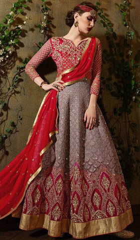 Red & Grey Ombre Georgette Embroidered Anarkali