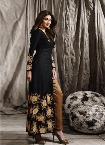 Black & Gold Raw Silk/Brocade Embroidered Suit