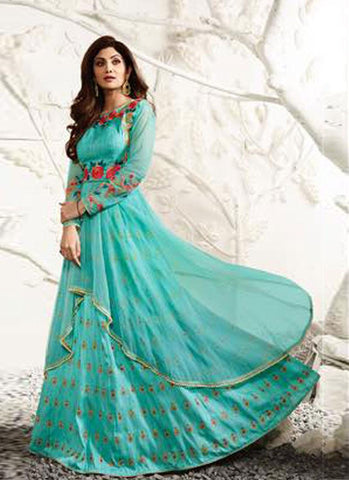 Light Blue Raw Silk Embroidered Lehenga Suit