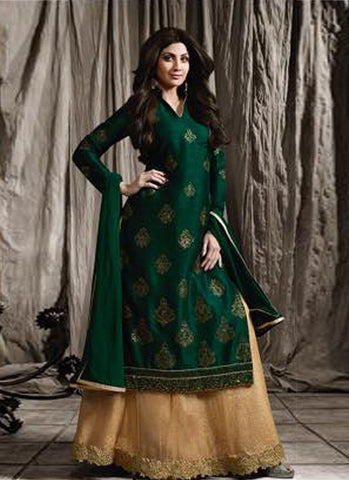 Dark Green & Beige Raw Silk/Net Embroidered Lehenga Suit