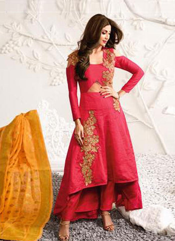 Pink & Mustard Raw Silk/Brocade Embroidered Suit