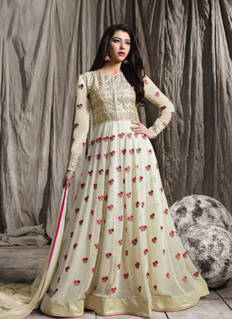 Off White Raw Silk/Georgette Embroidered Anarkali Suit