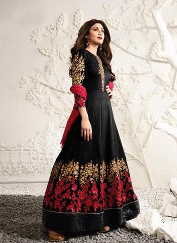 Black & Red Raw Silk Embroidered Anarkali Suit
