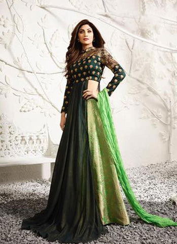 Dark & Light Green Raw Silk Embroidered Lehenga Suit