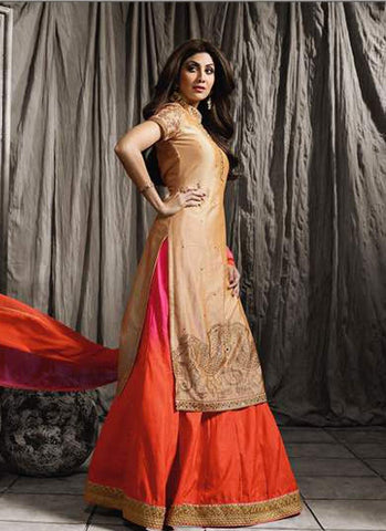 Beige & Orange Raw Silk Embroidered Lehenga Suit
