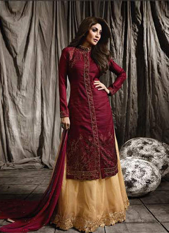 Maroon & Beige Raw Silk/Net Embroidered Lehenga Suit
