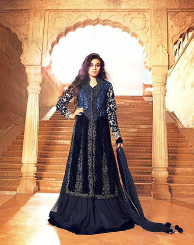 Navy Blue Net/Velvet Embroidered Lehenga Suit