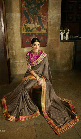 Brown & Pink Silk Shimmer Jaquard Saree