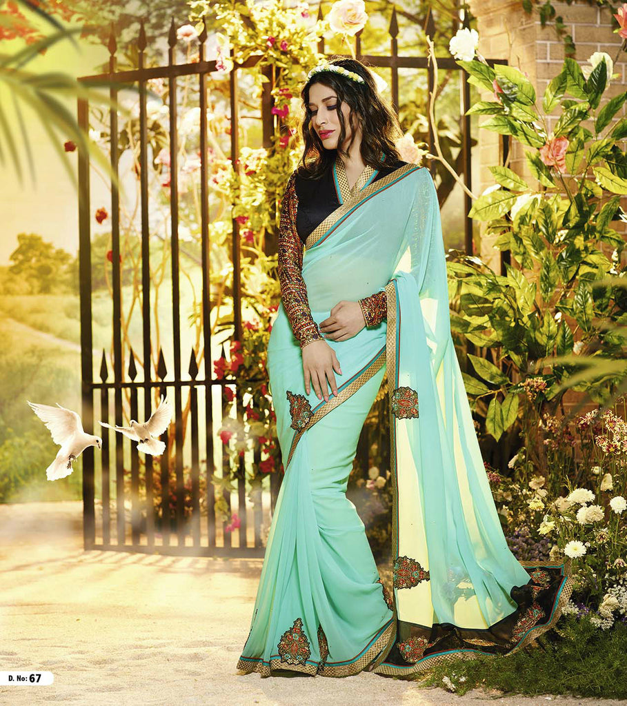 Sea Green Georgette Embroidered Saree