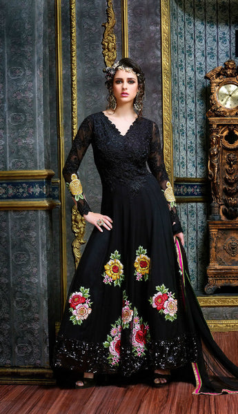 Black Floral Heavy Embroidered Suit in Pure Georgette