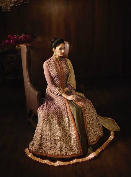 Brown Two-Tone Georgette Embroidered Anarkali