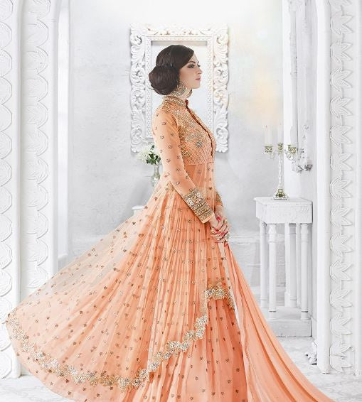 Peach Georgette/Net Embroidered Lehenga/Pant Suit