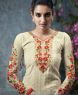 Cream & Orange Georgette Embroidered Straight-Cut Suit