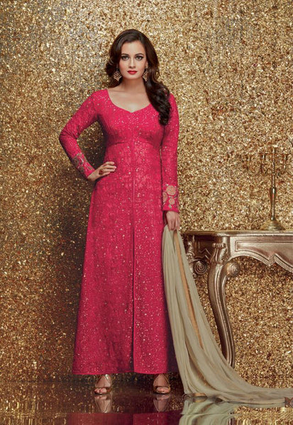 Dia Mirza Pink Georgette/Net Embroidered Suit