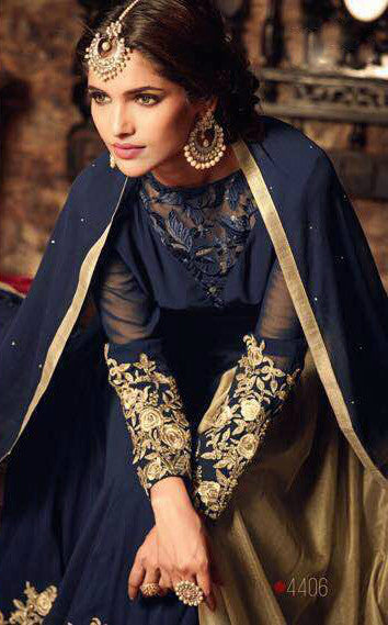 Navy Blue & Beige Georgette Embroidered Anarkali Suit