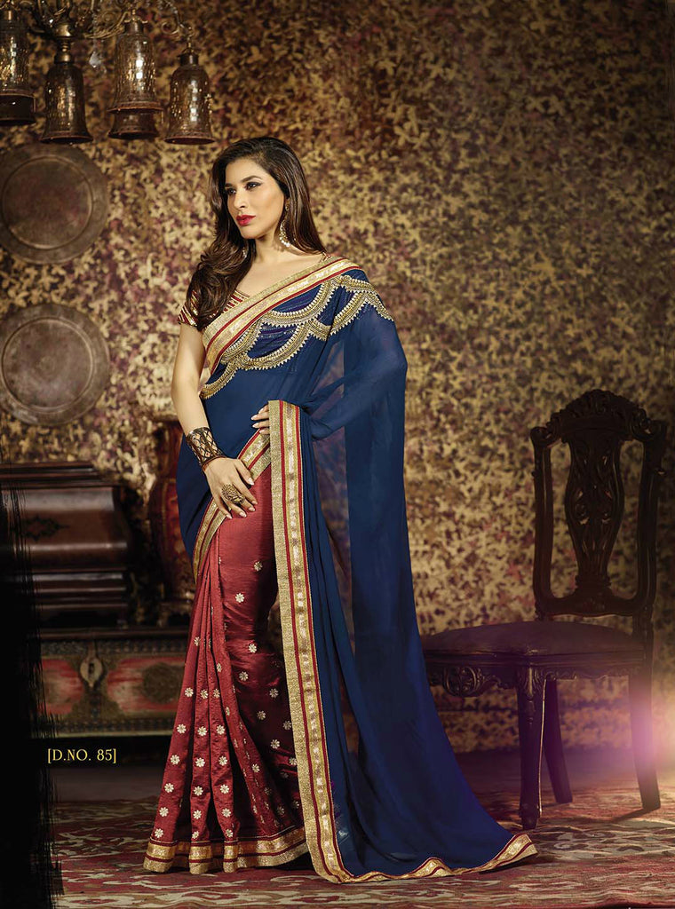 Red & Blue Georgette/Silk Saree