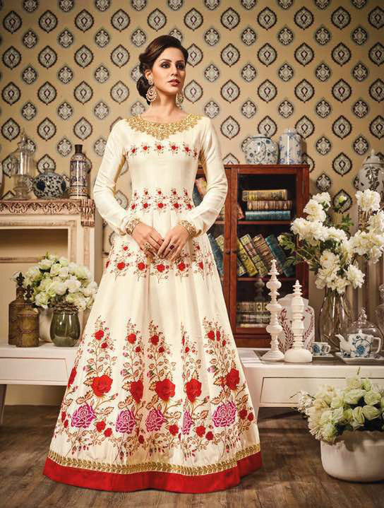 Off-White Pure Chandan Silk Embroidered Suit