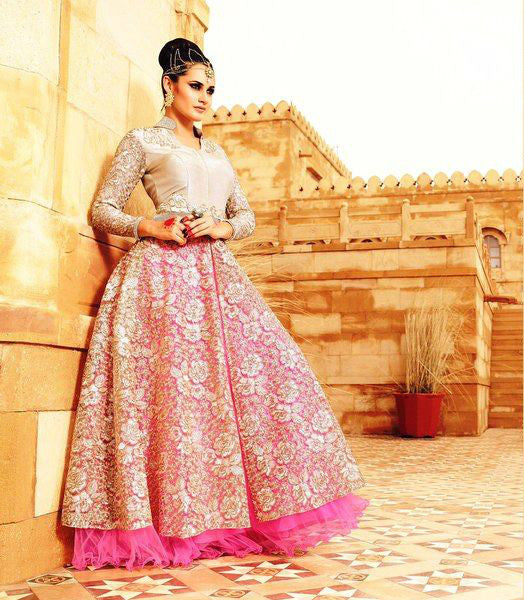 Cream & Pink Net/Santoon Embroidered Lehenga Suit