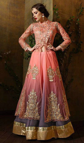 Peach & Grey Ombre Georgette Jaquard Embroidered Lehenga Suit