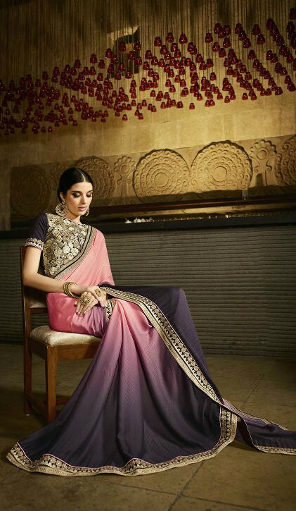 Pink & Grey Georgette Jaquard Shaded Saree