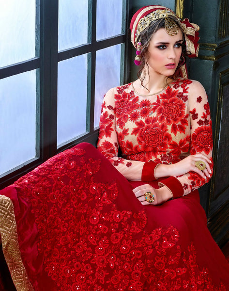 Red Floral Heavy Embroidered Suit in Pure Georgette