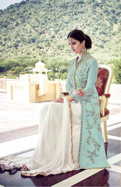 Sea Green & White Faux Georgette Embroidered Palazzo Suit