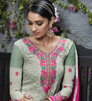 Grey & Pink Georgette Embroidered Straight-Cut Suit