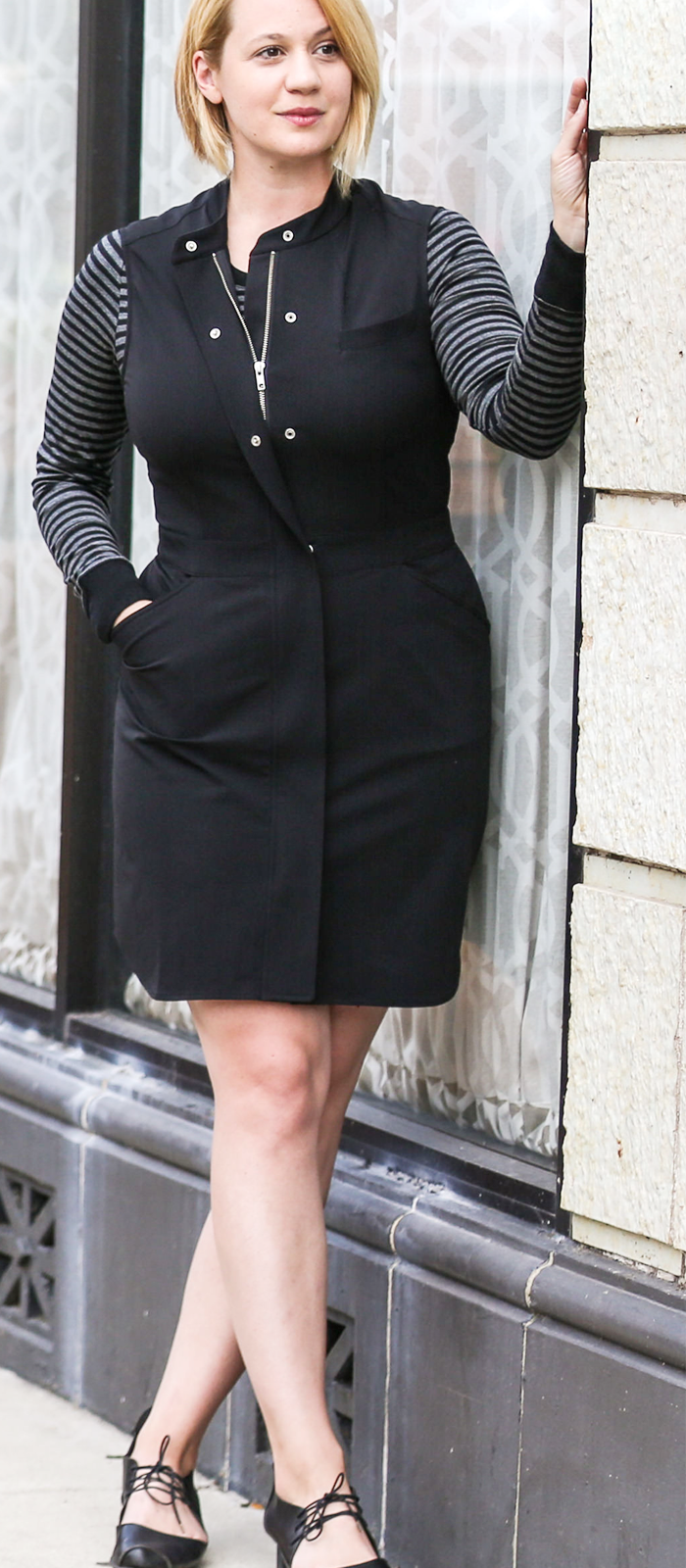 black dress with pockets and merino base layer