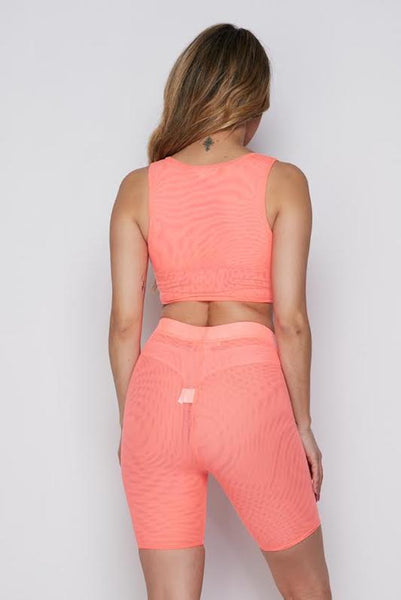 Mesh Sleeveless Biker Set