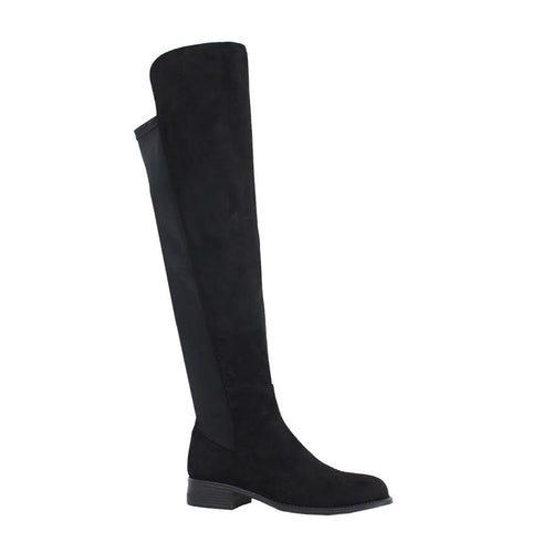Suede Knee High Boot with Stretch