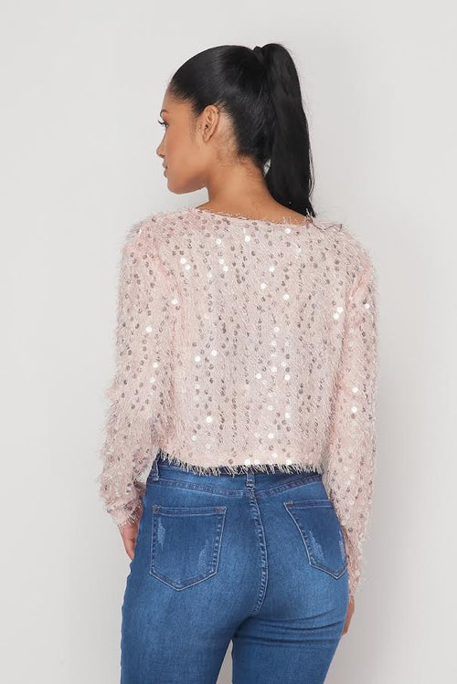 Fuzzy Sequin Top