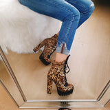 Lace up Leopard Platform Bootie
