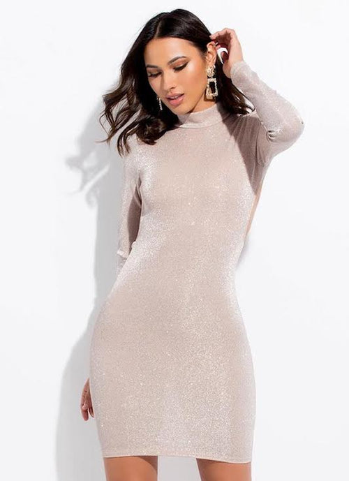Mock Neck Glitter Dress