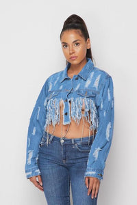 Crop Destroyed Rhinestone Jacket