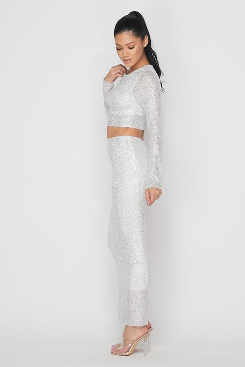 Sequin Maxi Skirt Set