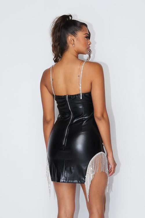 PU Leather Dress with Rhinestone Detail
