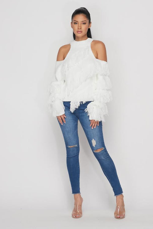 Cold Shoulder Fringe Sweater