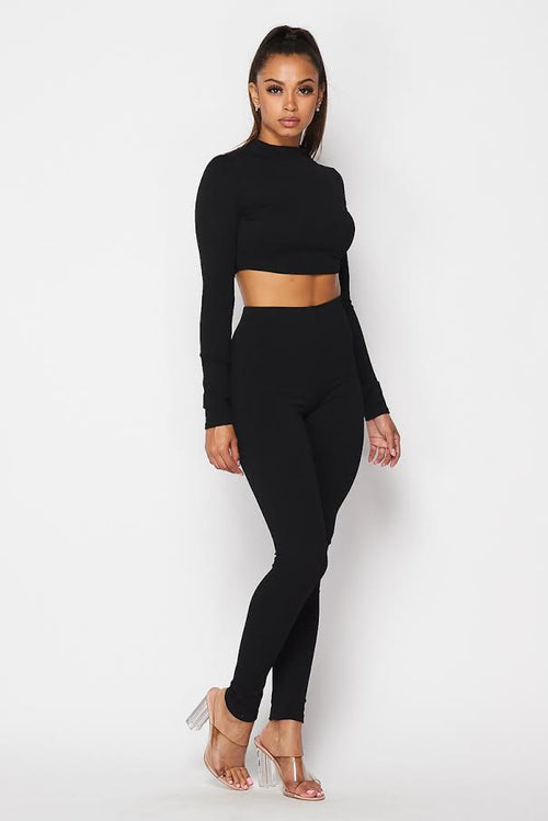 Mock Neck Cropped Top and Legging Set